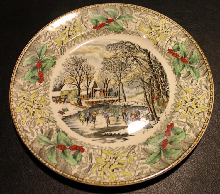 Adams Winter Scenes Engraving By N. Currier 10 1/2 Inch Diameter Plate #2