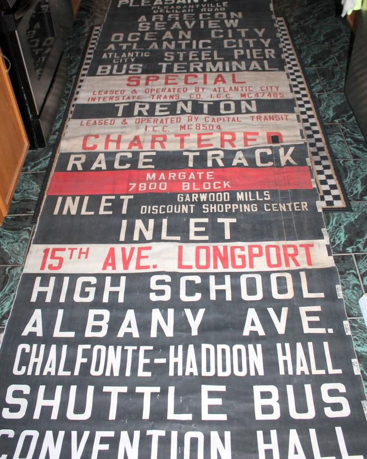 Huge 1940's Atlantic City Transit Bubble Window Bus Roll Canvas Sign Venice Park, Race Track And Many More