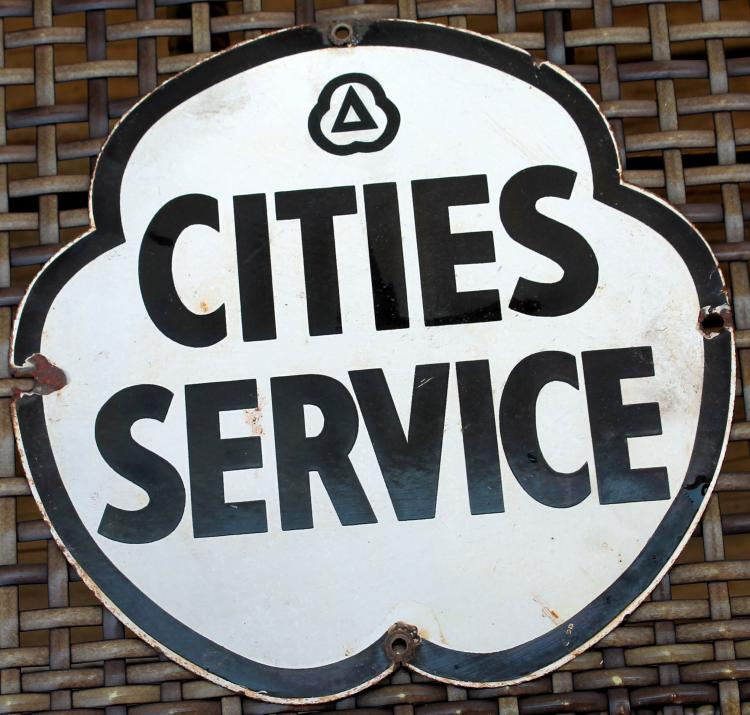 1940's Cities Service 9 inch Porcelain Bus Station Sign