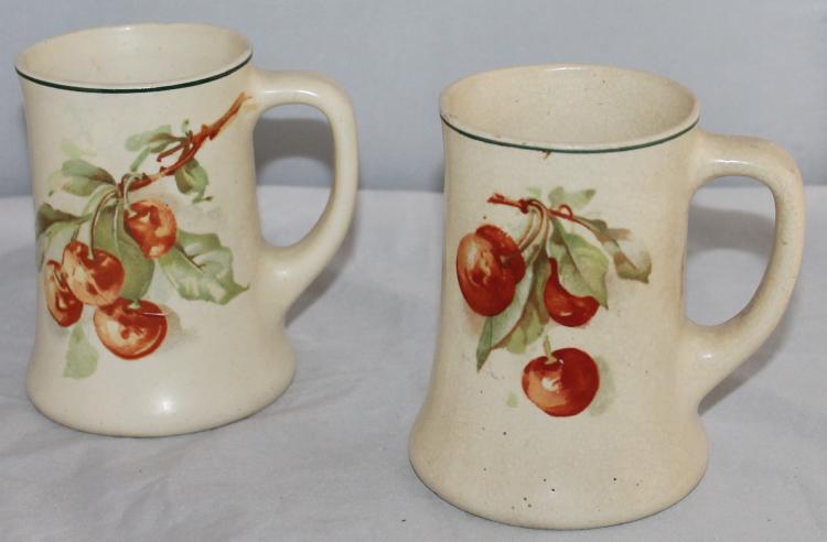 Roseville Creamware Set Of 2 Cherry Jubilee Mugs