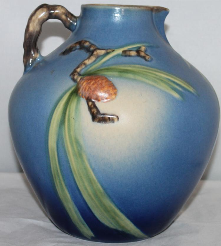 """Roseville Pottery Blue Pine Cone Pitcher #708-9"""" USA"""