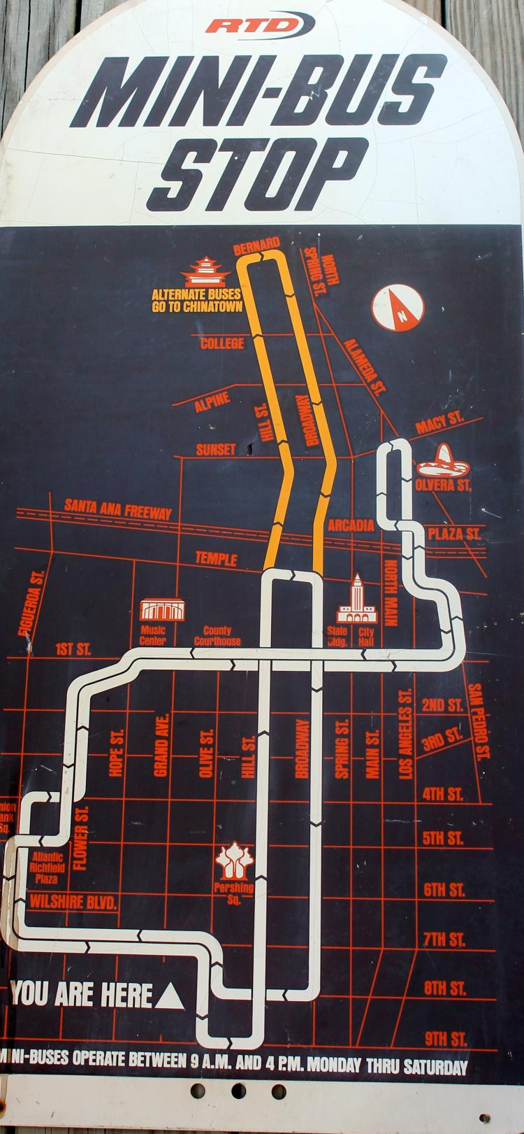 1980's Downtown Los Angeles Bus Stop Sign
