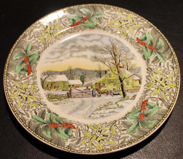 Adams Winter Scenes Engraving By N. Currier 10 1/2 Inch Diameter Plate #4