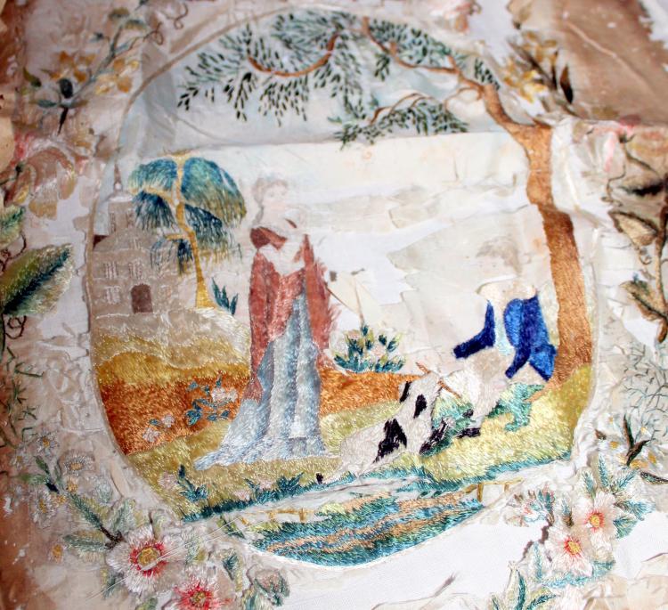 Silk Embroidery On Taffeta Done By The 2nd Cousin Of Martha Washington