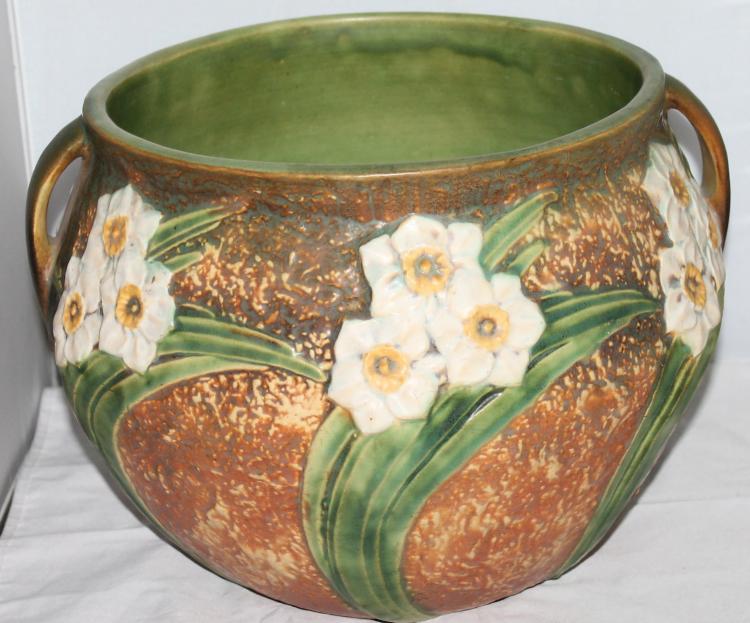 """Roseville Pottery Jonquil Large 10 Inch Jardinière 10"""" USA"""