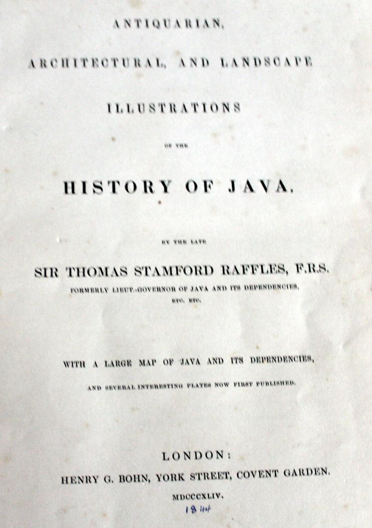 1844 History Of Java With Lithographs Book