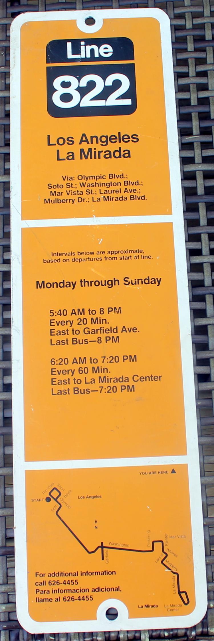 1980's Los Angeles La Mirada Line 822 Bust Stop Sign