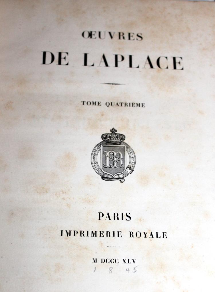 Oeuvres DE LAPLACE Tome Quatrieme Paris France 1845 Book