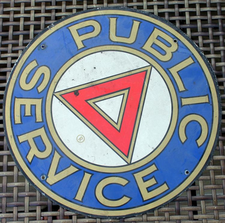 1950's Public Service Bus Transportation Sign 14 Inch Single Sided