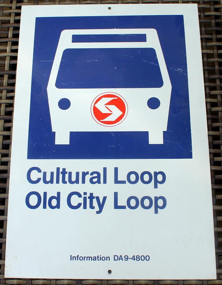 1980's Septa Cultural Loop Old City Loop Bust Stop Transportation Sign