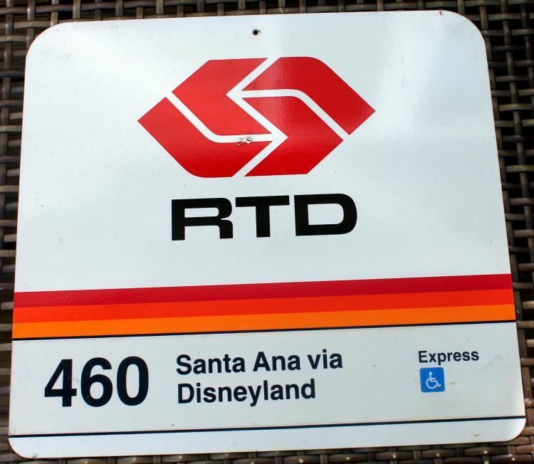 Great 1980's Santa Ana Via Disneyland Bus Stop Sign
