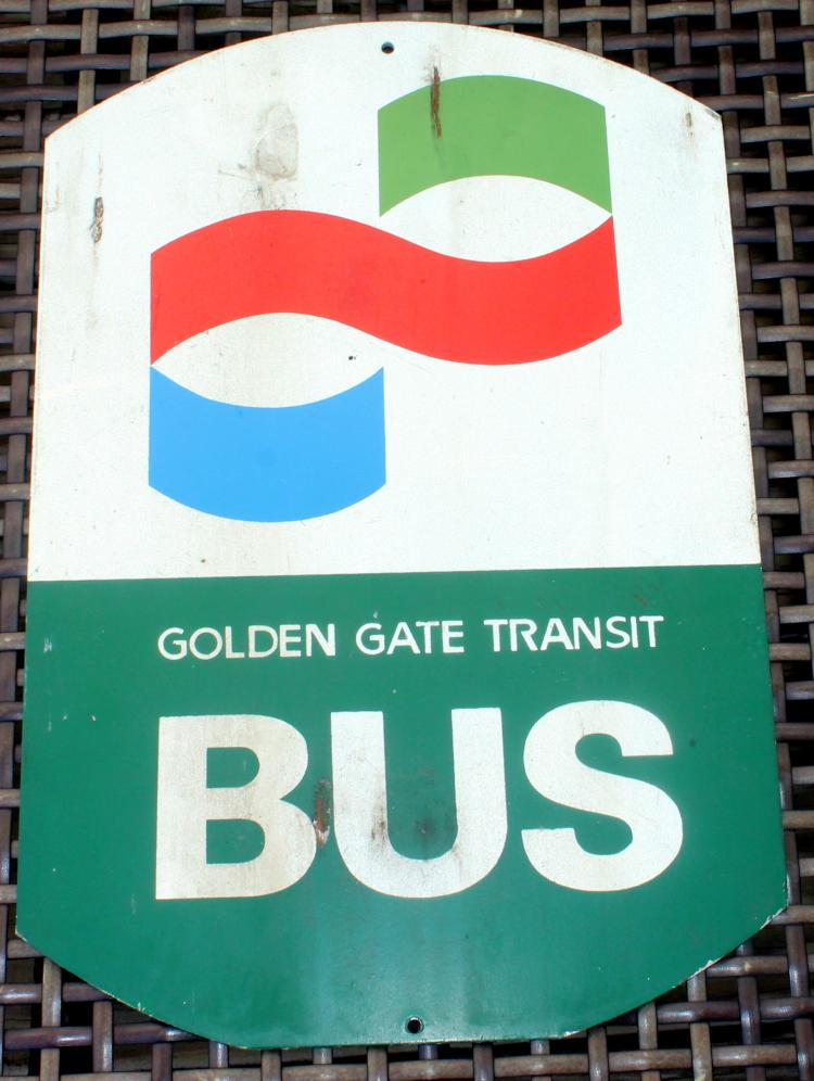 1970's Golden Gate Transit Bus San Francisco California Bus Stop Sign