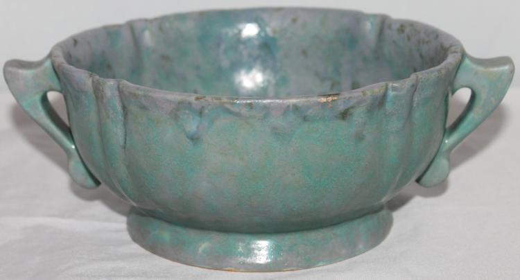 """Roseville Pottery Carnelliian 2 Handled Bowl #159-6"""" USA"""