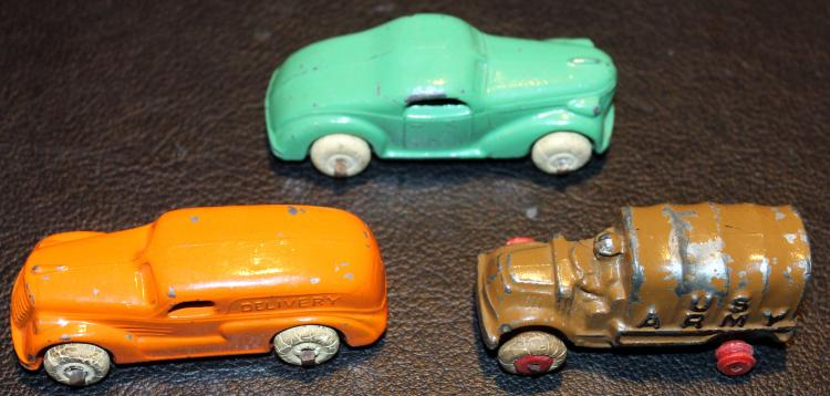 3 Great 1940's Arcade Toy Vehicles Army Truck, Delivery Truck and Coupe
