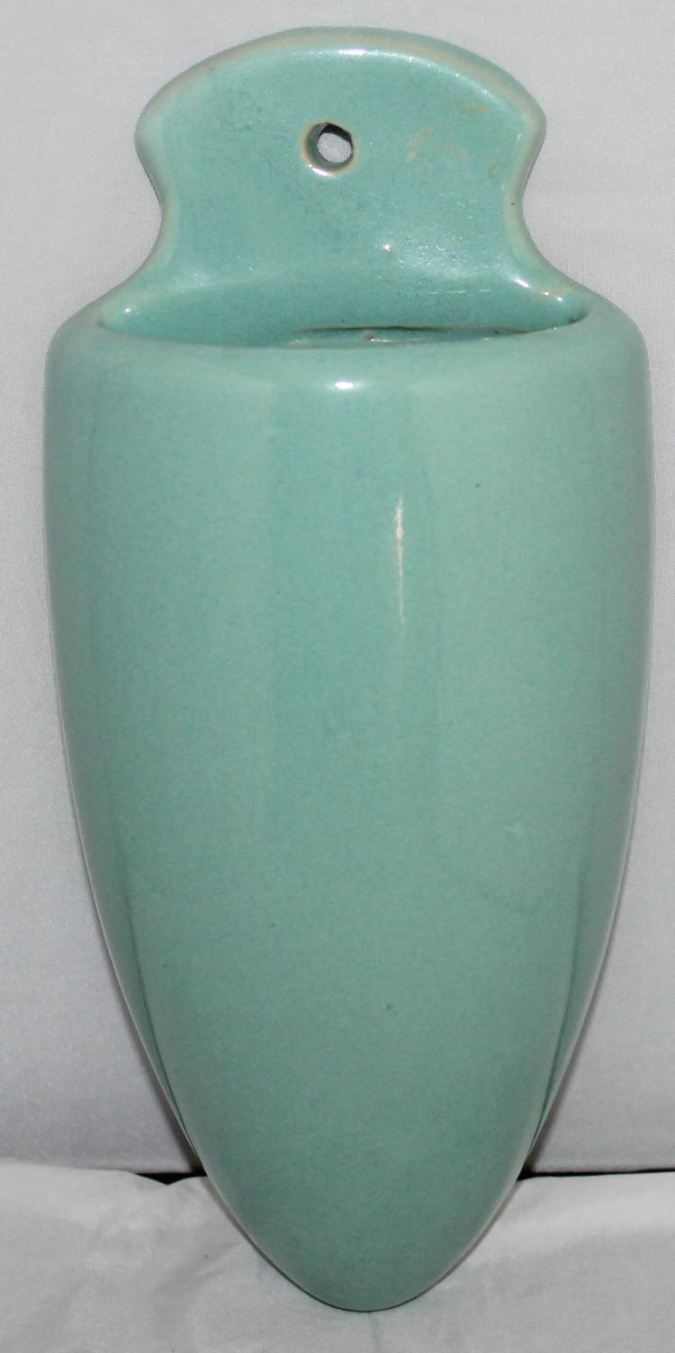 Roseville Pottery Azurine Orchid Turquoise Wall Pocket USA