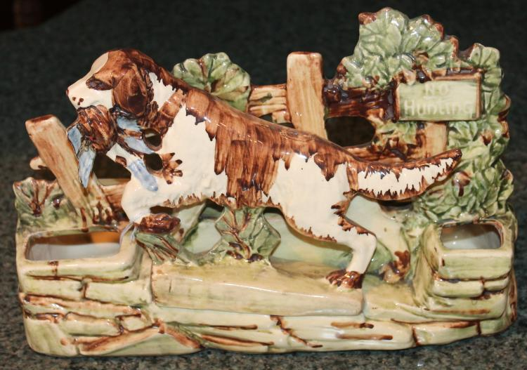 McCoy Pottery Hunt Scene Setter With Pheasant In Mouth Planter