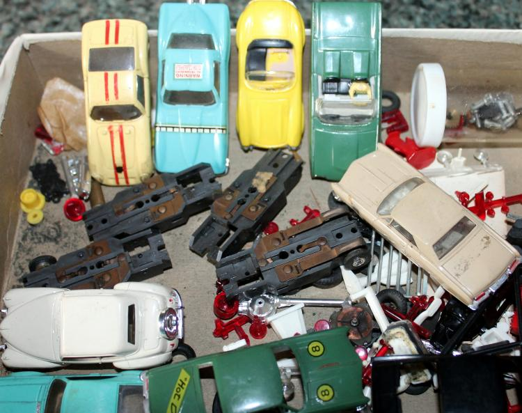Lot Of 1:64th Scale Slot Cars With Track And Accessories 1960's