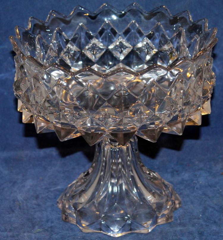 c1850's Flint Glass Diamond Pattern Compote