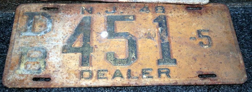 Rare 1948 NJ Dealer License Plate DB451-5