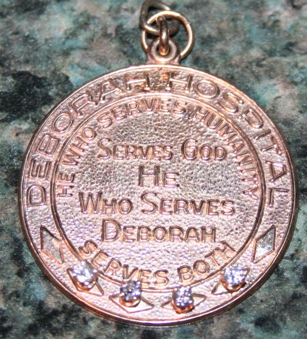 14K Gold With Diamonds Deborah Hospital Award Pendant .39 OZT 14K Gold