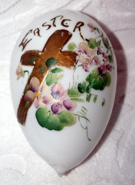 Hand Painted Victorian Large Blown Glass Easter Egg