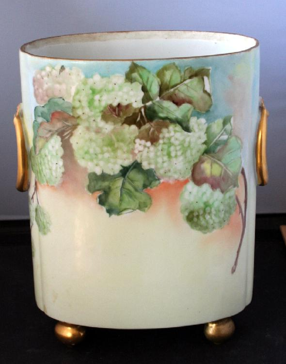 Hand Painted French Limoges Large Footed Vase