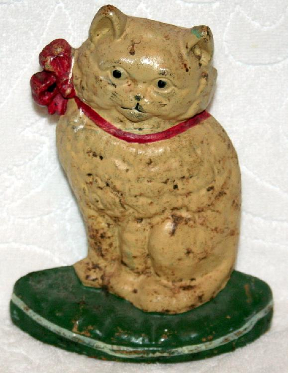 1920's Cast Iron Kitty Cat Cast Iron Doorstop