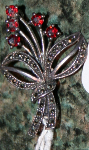 Sterling Silver Marquisate And Garnet Victorian Brooch