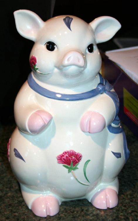 Lenox poppies On Blue Pig Cookie Jar