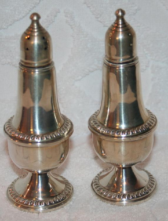 Tall Sterling Silver Weighted Salt And Pepper Shakers