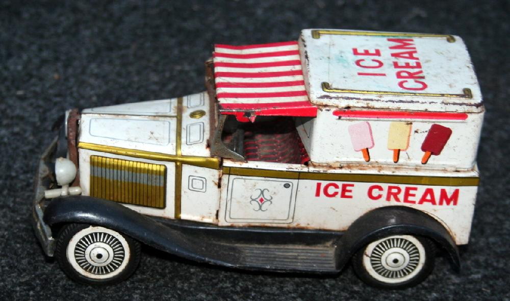 1940's Tin Lithograph Friction Ice Cream Truck