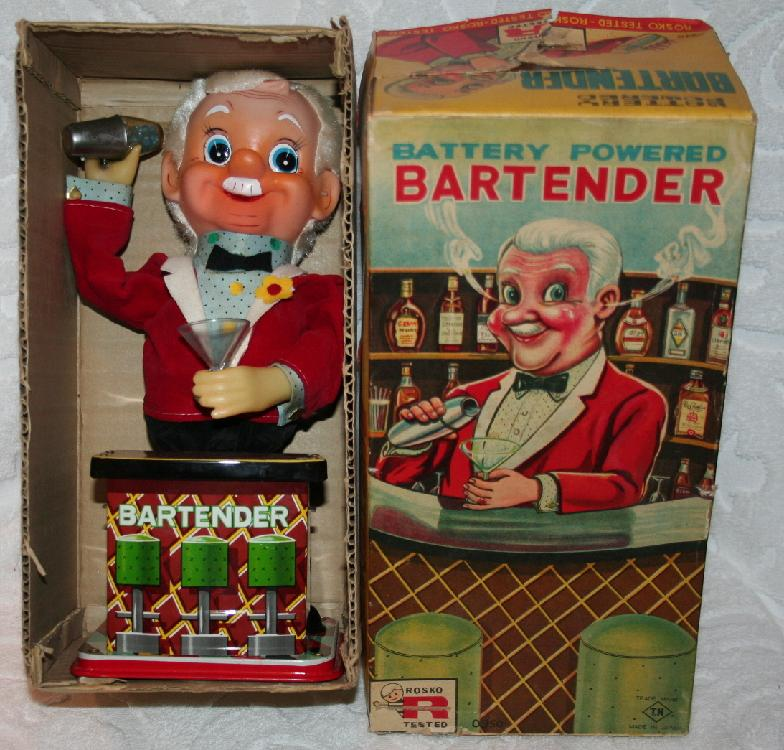 Rosko Battery Powered Tin Lithograph THE BARTENDER MINMB