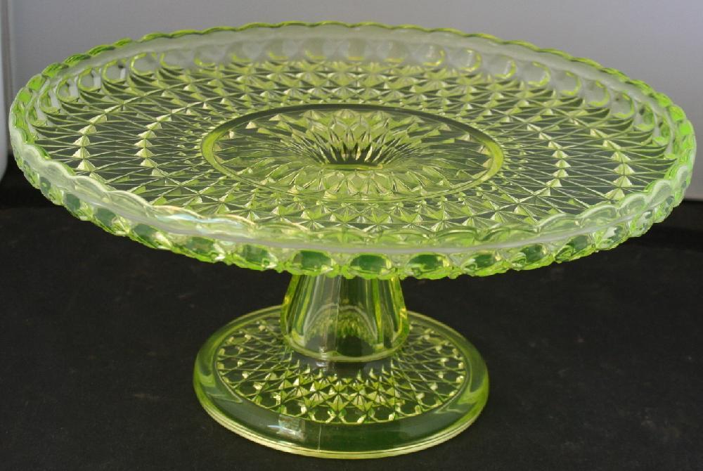 Vintage Vaseline Glass Pedestal 10 1/2 Inch Cake Plate
