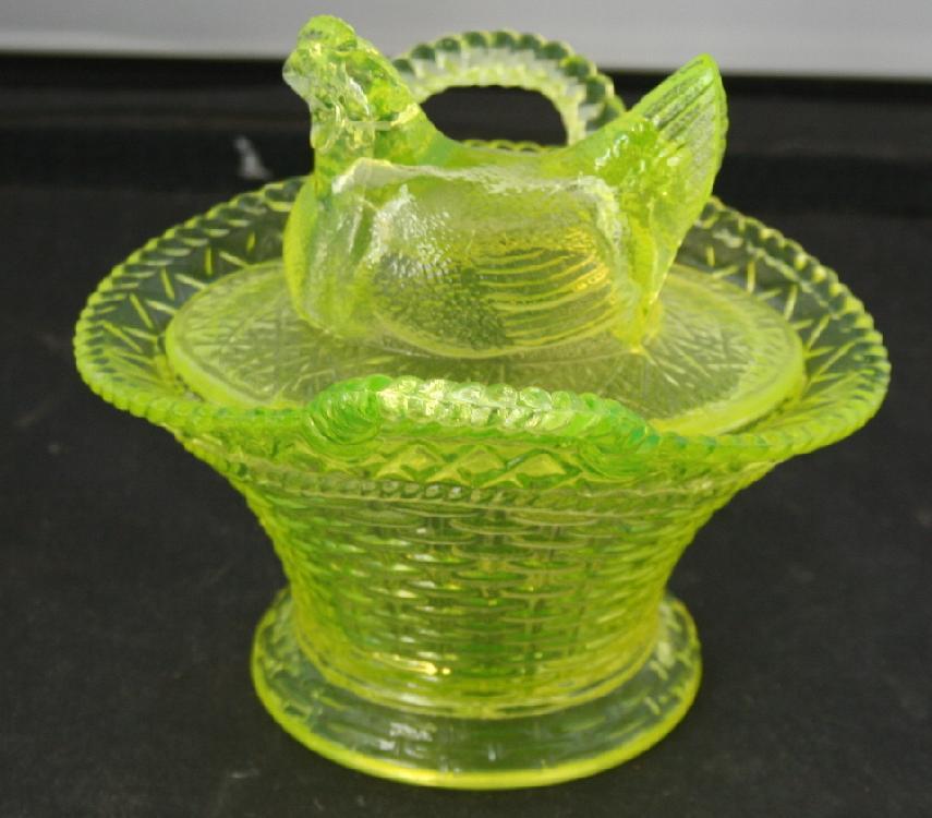 Vintage Vaseline Glass Hen On Nest Westmoreland Glass Co.