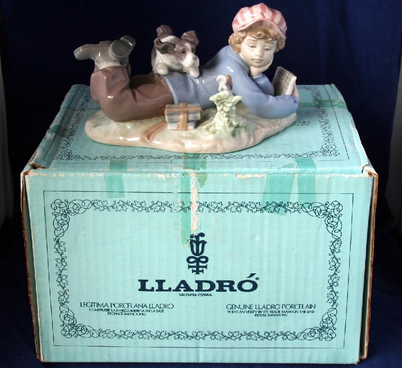 "LladroFigurine5451""Study Buddies"" Boy Studying Dog Playing"