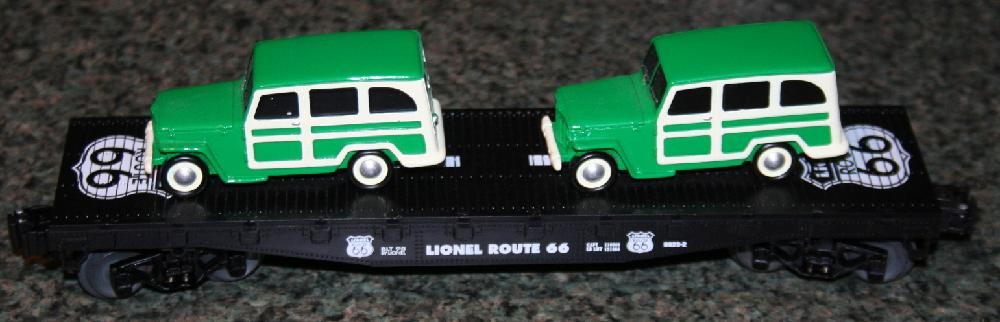 Lionel Trains Route 66 Flatcar With 2 Woddie Wagons #6-36001 MIMB