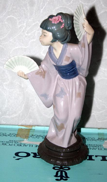 Lladro 4991 Madame Butterfly Japanese Girl With Fan MIMB