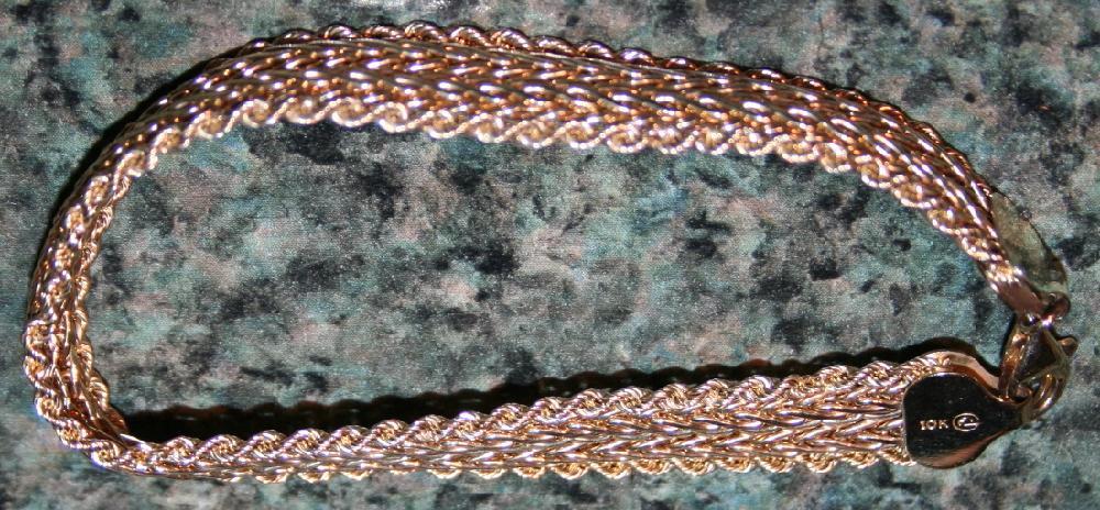 10KT Gold 6 Inch Flat Braid Bracelet .21 OZT