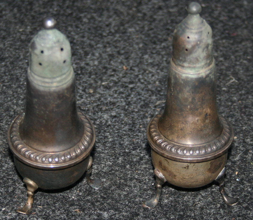 Set of Sterling Silver Empire Salt And Pepper Shakers
