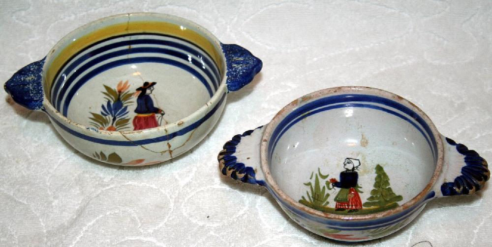 2 Original Henriot Quimper France Lug Bowls