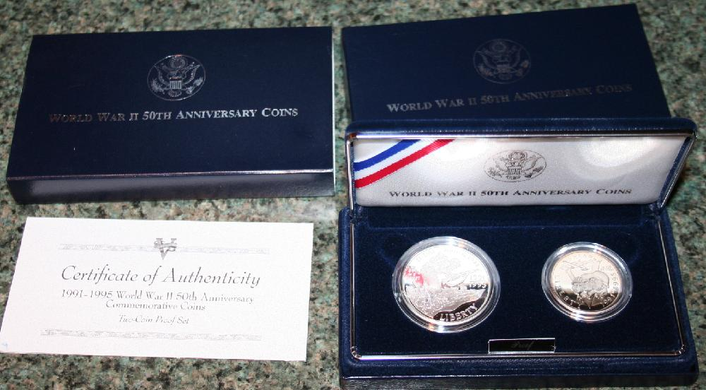 Proof World War II 50th Anniversary Coin Set US Mint With Silver Dollar