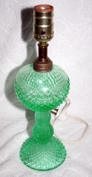 Green English Hobnail Depression Glass Lamp