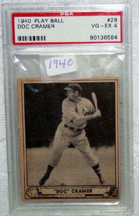 """1940 Goudy PSA Graded VG-EX 4 Roger """"Doc"""" Cramer Baseball Card"""