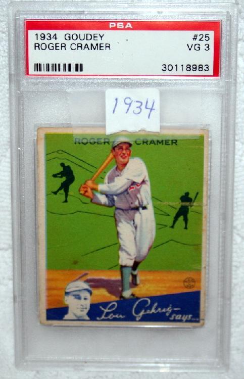 """1934 Goudy PSA Graded VG 3 Roger """"Doc"""" Cramer Baseball Card"""