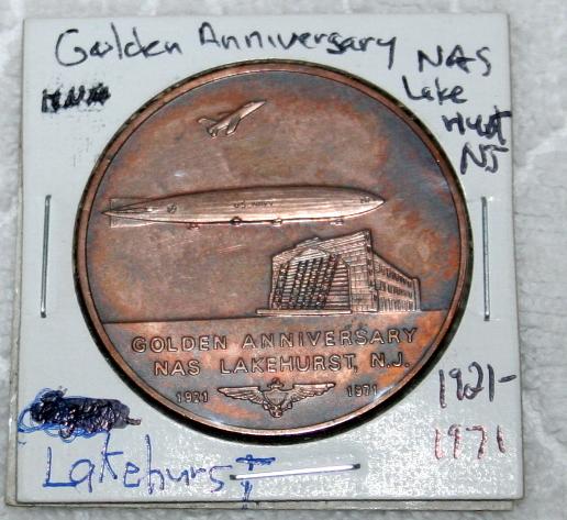 1921-1971 Golden Anniversary NAS Lakehurst NJ Medal Zeppelin