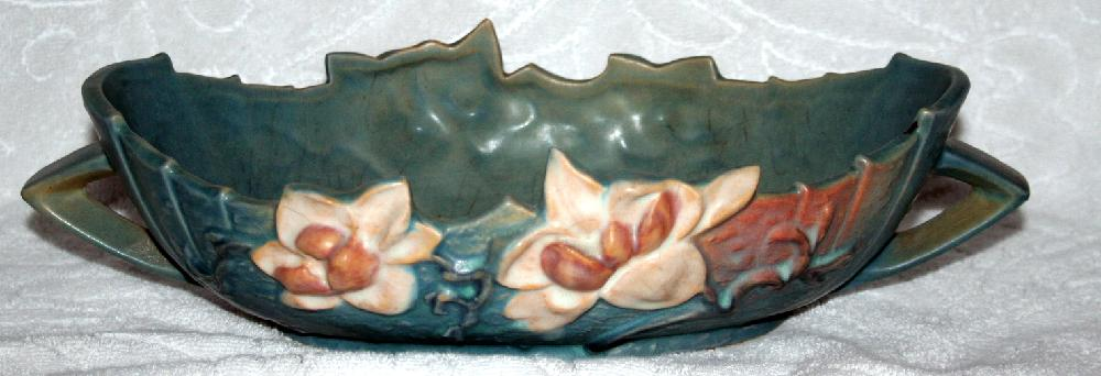 Roseville Pottery Blue Magnolia 10 Inch Console Bowl #449-10 USA
