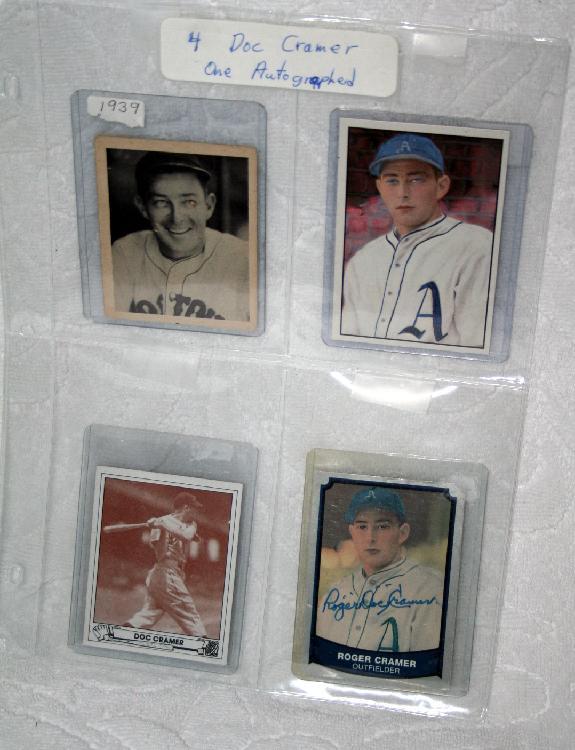 "4 Original Roger ""Doc"" Cramer Baseball Cards, 1 Autographed With COA"