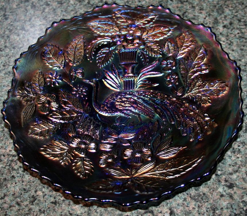 Vintage Peacock And Urn Carnival Glass 9 1/2 Inch Plate