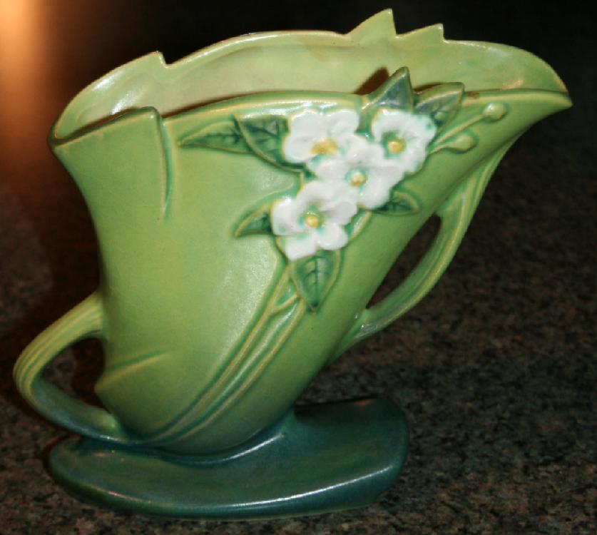 """Vintage Roseville Pottery Mock Orange Vase #973-8"""" USA"""