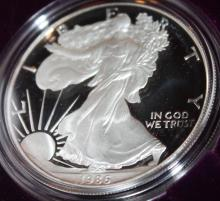 Lot 1: 1986-S One Ounce Silver American Eagle Liberty Coin Proof